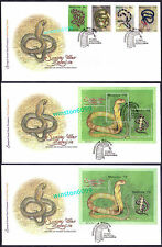 2002 Malaysia Species of Snakes 4v Stamps + MS + Imperf MS on 3 FDC (KL Cachet)