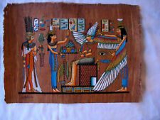 """Egyptian Papyrus Paper Painting Winged Isis Nefertari Antique Looking 9"""" X 13"""""""