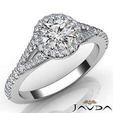 Gia D Vs2 14k White Gold 1ct Round Diamond Women's Engagement Halo Prong Ring