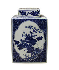 Chinese Blue White Square Porcelain Flowers Accent Jar cs2451