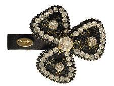 Al0011-Fiore Per Capelli Slide con paillettes scintillanti-nero, seta e oro