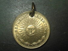 AUTHENTIC GOLDTONE BRASS ARGENTINA FLAG SOL SUN OF MAY FACE COIN PENDANT CHARM