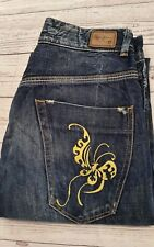 Vintage PEPA JEANS London Jeans 10 (W28 L34) Blue Poppy Yellow Embroidered Retro