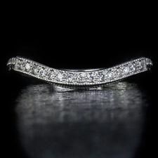 VINTAGE DIAMOND WEDDING BAND CURVED MATCHING SET RING 14K WHITE GOLD ART DECO