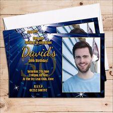 10 Personalised Birthday Invitations Blue Glitz 18th 21st 30th 40th 50th N220