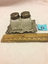 Vintage Salt & Pepper Shaker Clear Glass Cut On Silver Plated Tray Cute Small