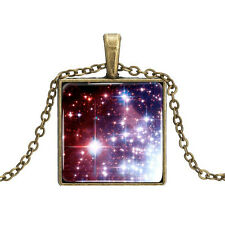 Vintage Style Bronze Chain Purple Red Sky Space Square Elegant Necklace N441