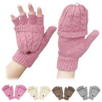 New Girls Ladies Winter Gloves Wool Cotton Casual Fingerless Work Gloves Mittens