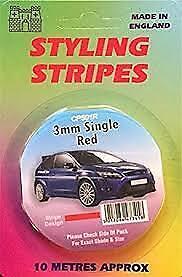 Red 3mm x 10mtr Self Adhesive Car Pin Stripe Coach Tape Syling Stripe