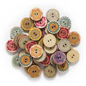 50pcs Retro series Wooden Buttons Sewing Scrapbook Clothing Crafts Handmade 25mm