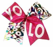 Pink and rainbow metallic leopard YOLO Cheer Hair bow           Can customize!.