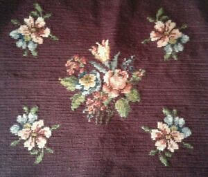 """Vintage Needlepoint Piece - Floral on Maroon Background - 16 1/2"""" x 17"""""""
