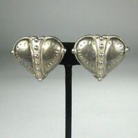 C Stein Earrings CLIP ON Silvertone Vintage Circa 80 Heart Punk 1 1/8 in Estate