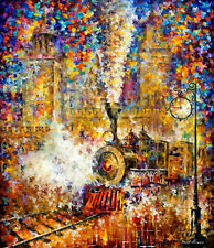 "Last Train —  Oil Painting On Canvas By Leonid Afremov. Size: 30""x40"""