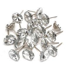 20pcs Crystal Nails Tacks Studs Pins 20mm Dia Buttons Sofa Wall Upholstery Decor
