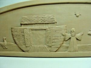 RARE Noahs Ark Arch Wall Art 3-D Molded Clay on Wood Ready Display or Paint It