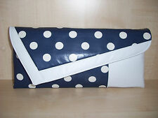 WHITE & NAVY BLUE SPOT asymmetrical faux leather clutch bag. UK made