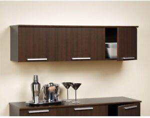 Floating Desk 3-Door Wood Frame Espresso Finish with Hidden Self-Closing Hinges