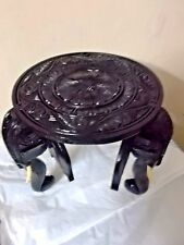"""12"""" WOODEN ROUND Table ELEPHANT FLORAL CARVED DECORATIVE TABLE ORNAMENT  Decor"""