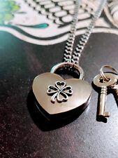 Four Leaf Clover Heart Lock Necklace Day Collar Stainless Steel BDSM Renaissance