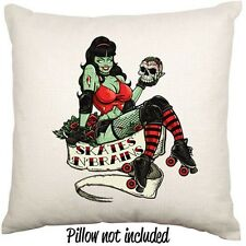Roller Derby Zombie Brains Horror Pinup Rockabilly Retro Throw Cushion Cover