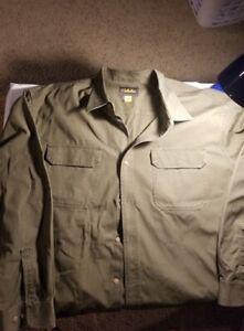 Cabela's Khaki/Brown Long Sleeve Button Up 3XL Tall