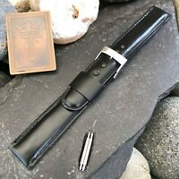 "11/16"" Black Calf Leather Single-Keeper nos Vintage Watch Band 18mm"