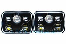 "2x 7x6"" Cree LED Projector Headlights Sealed Beam Replacement DOT Approved Black"
