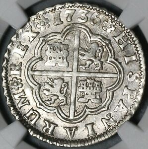 1736-S NGC AU 55 Spain 2 Reales Philip V Silver Seville Coin POP 2/0 (21051305C)