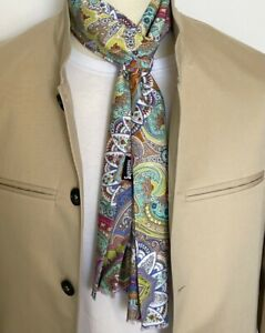 SUPERNOVA Multi Psychedelic Paisley Mod Scarf Scooter 60s Retro Indie Rare