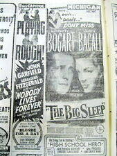 "1946 newspaper w Lrg movie ad HUMPHREY BOGART & LAUREN BACALL in ""The Big Sleep"""