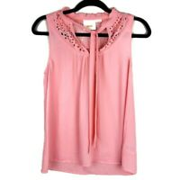 Anthropologie Maeve Sleeveless Lazer Cut Tie Blouse Top Coral Pink • Size 0