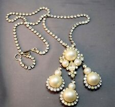 Rhinestone & Faux Pearl Dangle Necklace Sophisticated Old Kenneth Lane High End