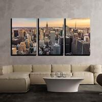 "Wall26 - New York City Midtown Skyline - Canvas Wall Art - 24""x36""x3 Panels"