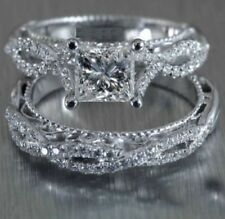 14K White Gold Over 1.22 Carat Princess Cut Diamond Engagement Bridal Ring Set