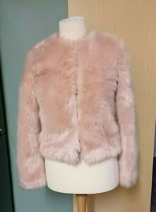 Select  Blush Pink  Soft  Faux Fur Jacket Size 8 Ladies Womens Lovely Cond