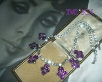 VINTAGE 1950s BRIDGERTON STYLE AMETHYST CRYSTAL DIAMOND RHINESTONE DROP NECKLACE