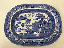 "Vintage Large Staffordshire JM&S England Blue Willow Platter, 17 1/4"" x 13 3/4"""