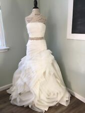 White By Vera Wang Organza Trumpet Wedding Dress-style: Vw351011 Ivory Sz 6 NWT