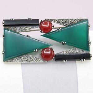 Vintage Art Deco Revival Sterling Silver Chrysoprase Carnelian LARGE Brooch Pin