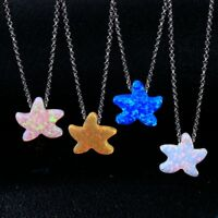 925 Silver Starfish Star Design Blue&Pink&Yellow Fire Opal Multi-Color Necklace!