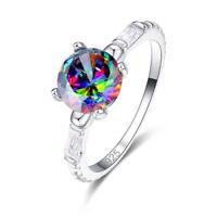 Pretty Fashion Round Cut Rainbow White Topaz & Black Spinel Gemstone Silver Ring