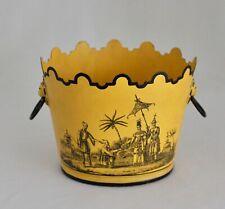 "Italian Tole Tin Cachepot Planter Mustard Yellow Chinoiserie Lion Handles 6x4.5"""