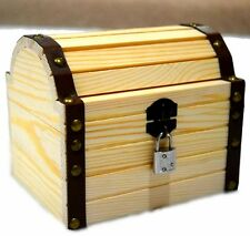 Wooden Treasure Chest Box Treasure Trunk with a Working Lock and a Pair of Keys