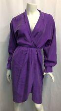 Women's Retro Vintage VTG Gillian Purple Belted Dress 80s 2 Small Wrap Silk