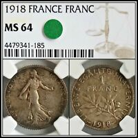 1918 Silver France Franc NGC MS64 Choice Unc Vintage French Classic Coin