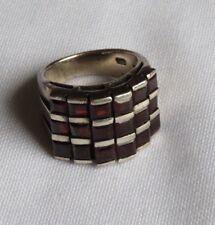 925 Sterling Silver Garnet Ring Jewelry Size 9  (ac371)