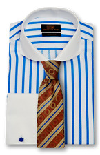 Dress Shirt by Steven Land Trim & Classic Fit French Cuff -Blue/White-TW1738-BL