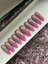 Hand Painted False Nails Coffin Press On Nails Bright Pink French And Nude