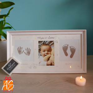 NEW - Cute Hand and Foot Print Photo Frame WITH Ink Pad - Ideal Baby Keepsake